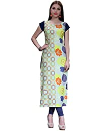 Ziyaa Women's Multicolour Boat Neck Cap Sleeve Crepe Digital Print Straight Kurta (ZIKUCR277)