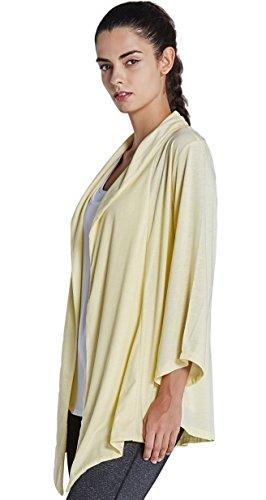 KomPrexx Cardigan Donna Elegante Manica Lunga Aperta Anteriore Giallo