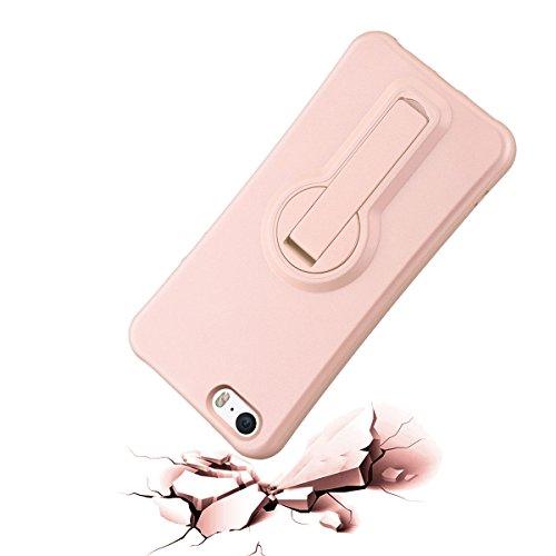 iPhone 5/5S Hülle iPhone SE Mount Hülle HB-Int 3 in 1 Weich Silikon Schutzhülle 360 Grad Standfunktion Handytasche Schutz Stoßfest Etui Ständer Case Soft TPU Back Cover Gold für iPhone 5 / 5S / SE + S Rose Gold