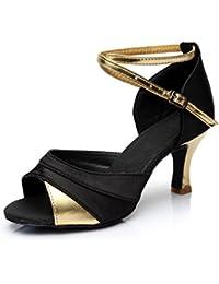 VESI Zapatos de Baile Latino de Tacón Alto/Medio para Mujer