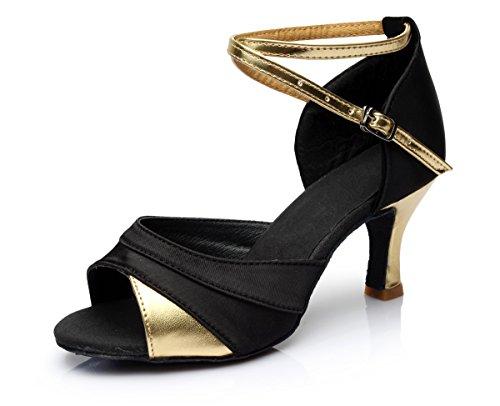 VASHCAME - Damen Hoher Absatz Tanzschuhe Standard/Latein Gold 41(Absatz 5cm)