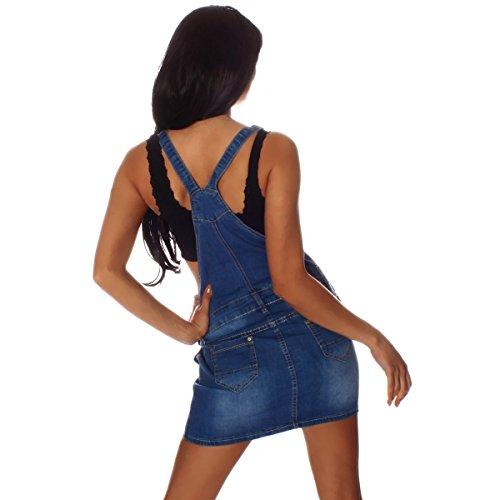 10693 Fashion4Young Damen Jeansskirt Jeansrock Minirock Trägern Latzrock Rock Jeans Blau 5 Größen Blau
