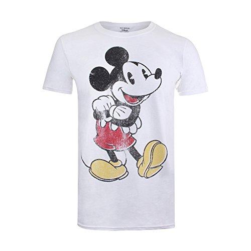 Disney Herren T-Shirt Vintage Mickey Weiß (White) ()