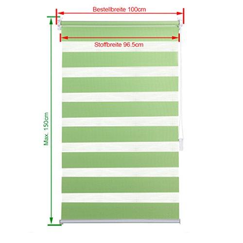 OBdeco Doppelrollo Klemmfix 100x150cm Grün Duo Rollo ohne Bohren mit Klemmträgern Fensterrollo - 3