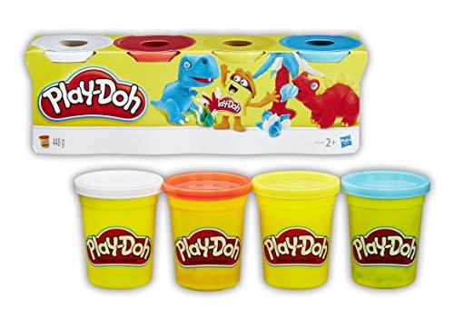 Play-doh - 4 vasetti singoli, b5517eu4, colori assortiti