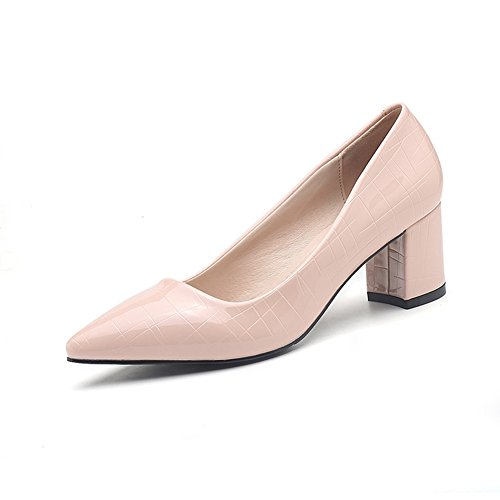 Blockabsatz Arbeitsschuhe Moderne Pink Tägliche Slip Damen Pumps Spitze PnqwfIZI