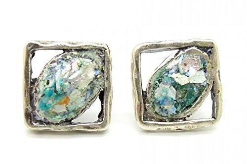 Handgefertigter Silber-Ohrstecker Frauen-Schmuck | quadratisch | rustikal Ohrring | blau | Römisches Glas vom 2.-4. Jahrhundert | Unikat im Re-Design by Niibuhr Jewelry -