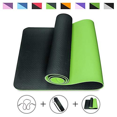 Romix Esterilla Yoga, Exercise Mat Eco-Friendly 6MM de Gruesor TPE con Bolsa de Transporte, Colchoneta de Yoga Antideslizante para Hombres, Mujeres, Hogar, Gimnasio, de Meditación Pilates (Verda Lima)