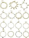 15 Stück Knöchel Ketten Armbänder Einstellbare Strand Fußkettchen Fuß Schmuck Set Fußkettchen für Damen Mädchen Barfuß (Gold)