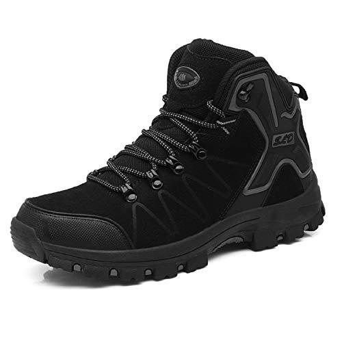 TQGOLD Scarpe da Trekking Uomo Donna,Impermeabile Scarpe da Escursionismo Arrampicata Stivali in Pelle (42 EU,Nero)