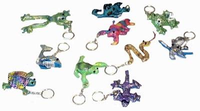 12 Assorted Sand Animals Soft Toy Keychains 7cm