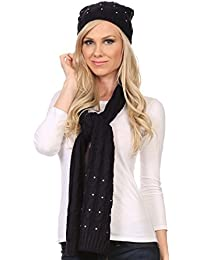Sakkas Kae Jewel Studded Cable Knit Beanie Hat and Scarf Set
