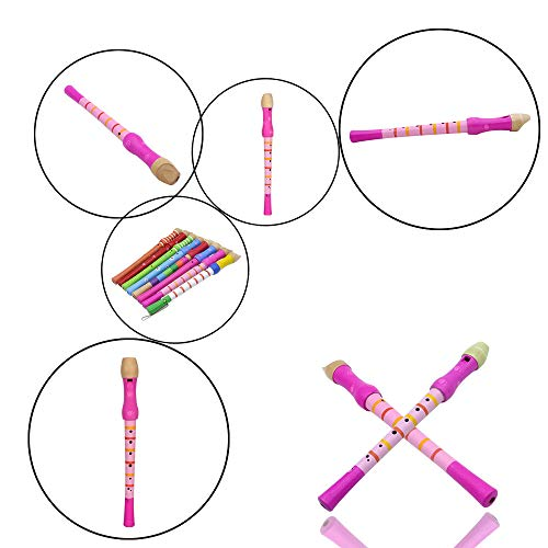 ULTNICE Wooden Descant Recorder 8 Hole Soprano Recorder Flute Music Playing Wind Instruments for Kids (Random Color)
