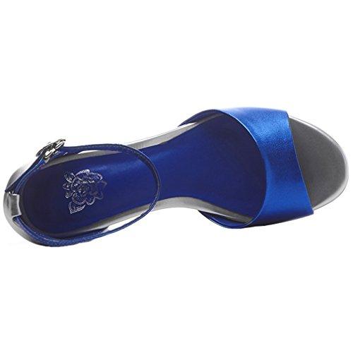 ENMAYER Femmes Bracelet à Cheville Rétro Nubuck Boucles de Soie en Cuir Bloc à Talons Hauts Chaussures à Talons Ouverts Chaussures à Talons épais Bleu#101