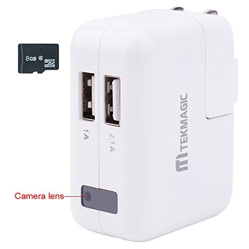 TEKMAGIC 8GB CAMARA ESPIA 1920X1080P HD CARGADOR DE TELEFONO USB ADAPTADOR CARGADOR MINI DETECCION DE MOVIMIENTO GRABADORA DE VIDEO