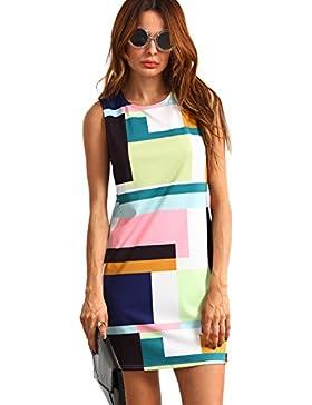 ROMWE Damen Farbblock Bodyconkleid Figurbetone Sommer Kleider Cocktailkleid Abendkleid Partykleid