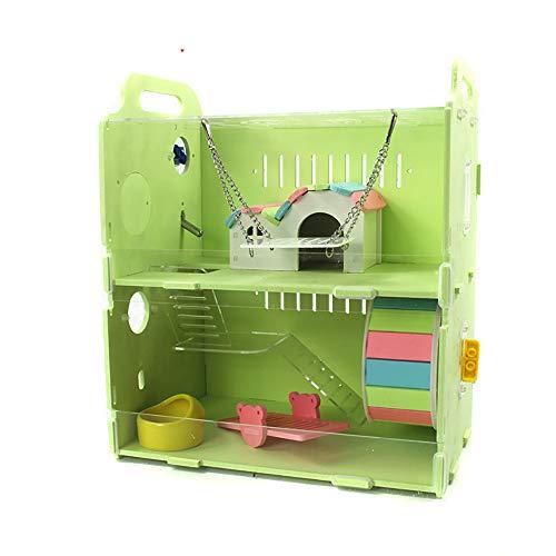 NJSD Hamsterkäfig, Transparente Doppelschicht-Hamstervilla, Umweltfreundliches Material, Luxuriöse Innenausstattung. Es Stehen Zwei Varianten Zur Auswahl: A Und B,Green,A