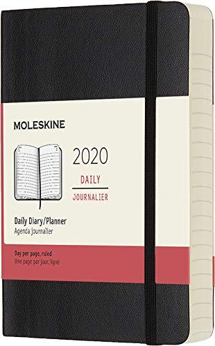 Moleskine 12 mesi 2020 agenda giornaliera, copertina morbida e chiusura ad elastico, colore nero, dimensione pocket 9 x 14 cm, 400 pagine