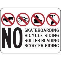 Tin Sign Fashion No Skateboarding Bicycling Rollerblading Scooter Riding Symbol and Text Metal Aluminum Sign Wall Plaque for Indoor Outdoor 7.8x11.8 Inch -