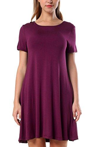 KorMei Damen Rundhals kurze Ärmel Mini Kleid Stretch Basic Kleider Fattern Sommerkleid Violett