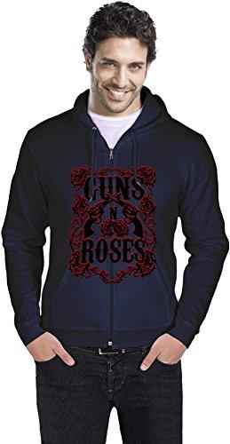 Guns N Roses Logo Uomo cerniera con cappuccio Men Zipper Hoodie Stylish Fashion Fit Custom Apparel By Genuine Fan Merchandise X-Large