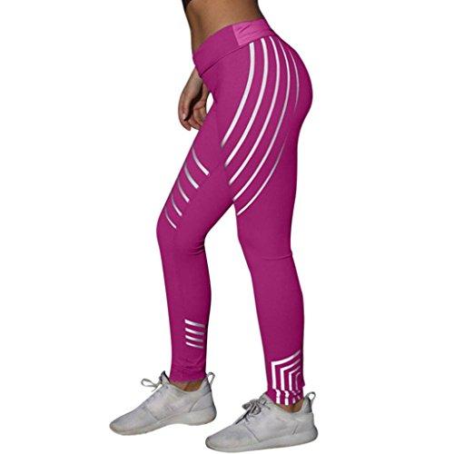 Leggings per il fitness Yoga da donna KOLY Pantalone sportivo da running elasticizzato da palestra Maglia Eleganti Sport Yoga Fitness Spandex Palestra Pantaloni Leggins Pantaloni Tuta (Hot Pink, M)