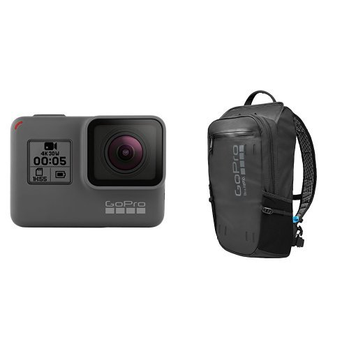 Galleria fotografica GoPro HERO5 Videocamera 12 MP, 4K/30 fps, 1440p/80 fps, 1080p/120 fps, Wi-Fi, Bluetooth [Italia] + GoPro AWOPB-001 GoPro Seeker, Nero