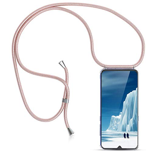 Carcasa de movil con Cuerda para Colgar Xiaomi Redmi Note 7 -Funda para iPhone/Samsung/Huawei con Correa Colgante para Llevar en el Cuello -Hecho a Mano en Berlin[Transparente TPU Case/Oro Rosa]