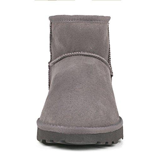 Shenduo Bottes femme cuir de mouton, Boots fourrées hiver courtes doublure chaude de laine DV5854 Gris