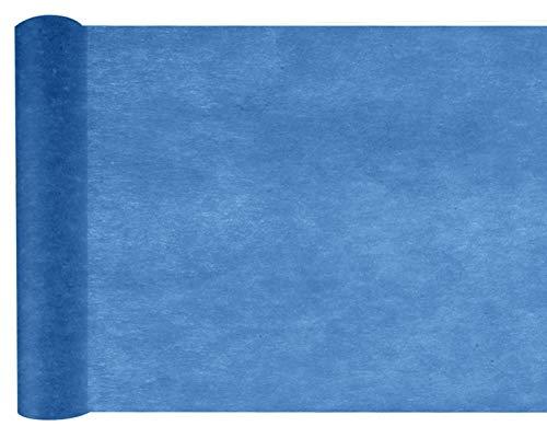 cama24com Tischläufer Navy Marine blau Vlies 10m x 30cm Rolle Tischband Tischdeko mit Palandi® Sticker