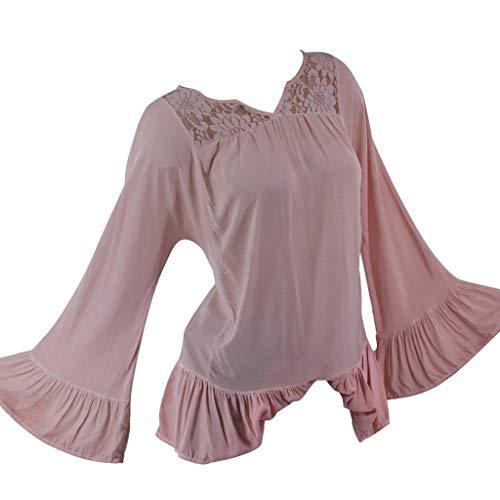 LUGOW Langarmshirts Damen Einfarbig Übergröße Lose Blouses Blumenspitze V-Ausschnitt Bluse Pullover Online Langarm T-Shirt Tops Sweatshirt Günstig Blusen -