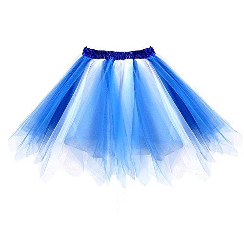 Honeystore Damen's Tutu Unterkleid Ballet Petticoat Rock Abschlussball Abend Gelegenheit Zubehör Blau und Weiß