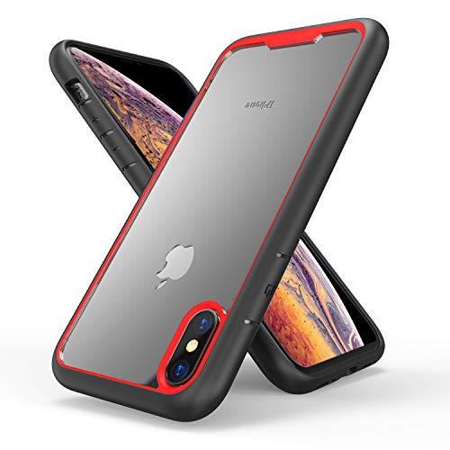 FNBK iPhone XS Max Hülle mit stylischem Rand Soft Silikon TPU Gel Bumper Case rot