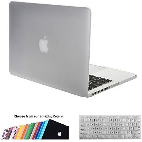 MacBook Pro 15 Retina Funda,iNeseon(TM) 2 in 1 [Frosted Series]Ultra Delgado Carcasa Dura Shell Case US Versión Clara Cubierta del Teclado e EU Versión Transparent Cubierta del Teclado para Apple MacBook Pro 15/15.4 pulgada con Retina Display Modelo:A1398 (VERSION MÁS NUEVA, NO CD-ROM Drive,NOT para MacBook Pro 15 Modelo:A1286) (Clara)