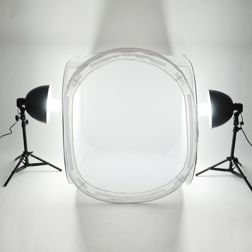 Amzdeal Lichtzelt 80x80x80cm Lichtwürfel Set Fotozelt mit 2 x 135 W Fotplampe + Lampenstativ + Lampenschirm+ Aluminium-Leuchtenkopf + 4 x Hintergründe (Schwarz / Weiß / Blau / Rot) Fotostudio