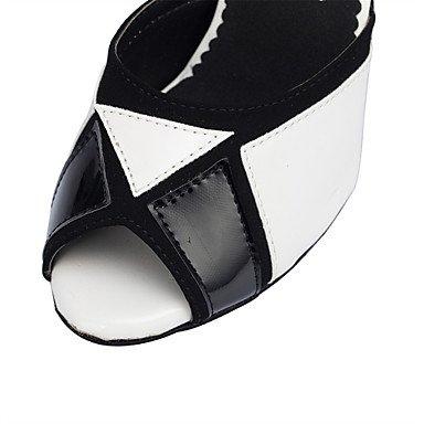 XIAMUO Anpassbare Damen Tanzschuhe Latin/Jazz/Swing Schuhe/Salsa/Samba angepasste Ferse Multi-color Schwarz und Weiß