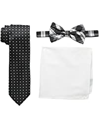 Nick Graham Men's Plaid Neck Tie with Polka Dot Bow Tie and Solid Pocket Square