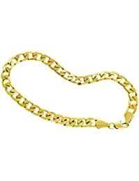 "LUXURY Curb Bracelet - 24 k Gold plated - New - 6mm 9"" Cuban Bling solid"