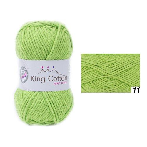 Wolle Strickgarn Häkelgarn KING COTTON ägyptische Baumwolle+Acryl stricken häkeln Farbe_11_apfel-grün