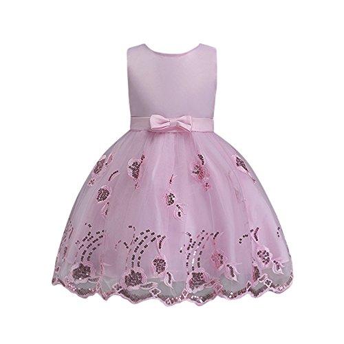 YEARNLY Prinzessin Ärmelloses Kleid Landung Brautjungfer Blumenmädchen Kleid Baby Geburtstag Party Hochzeit Stickerei Mesh ()