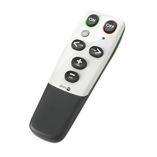 Doro HandleEasy 321rc Universal Fernbedienung (geeignet für einfachste Bedienung von Fernseher oder Stereoanlage) weiß/schwarz