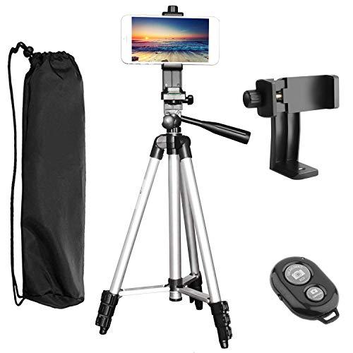 Treppiede Smartphone, PEMOTech Treppiede per fotocamera in alluminio da 50 pollicie regolabile a 360 ° con staffa per supporti Smartphone Per iPhone 7/7 Plus, 6 / 6s, 6 / 6s Plus, SE / 5s / 5 / 5c, Samsung Galaxy S8 / S8Plus, S7 / S7 Edge, S6 / S6 Edge, Note5 / 4/3, Altre fotocamere e cellulare