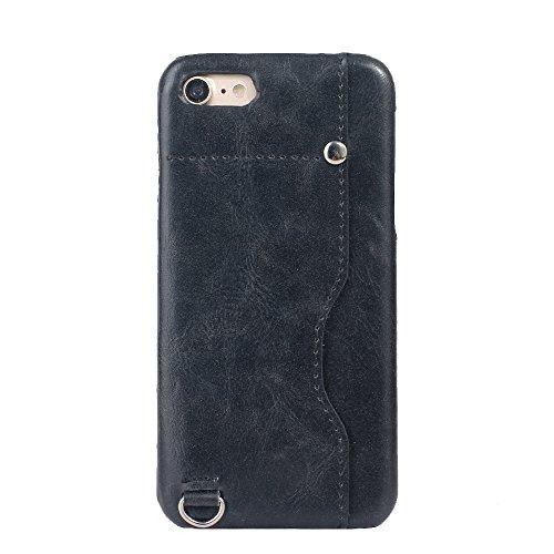 iPhone 8 Hülle, Valenth Card Slot Design Shockproof Slim Fit Schock Widerstand Schutzmaßnahmen zurück Hülle Cover für iPhone 7 iPhone 8 Schwarz