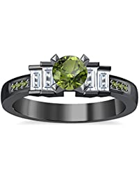 Silvernshine 1.35Ct Round & Buget Cut Peridot Sim Dimoands 14K Black Gold Plated Engagement Ring