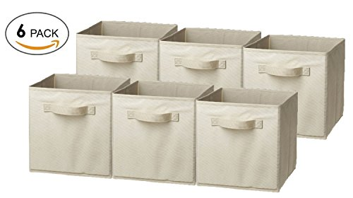 LUXEHOME Home Decorative Foldable Storage Box Set , Natural Canvas, Set of 6 by Luxehome by LUXEHOME