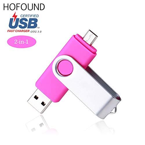 32gb otg (on the go) usb 3.0memory stick tappo girevole in metallo per android e smart phone doppia porta usb e micro usb rosa rosa 32 gb