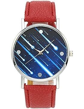 JSDDE Fashion Armbanduhr Meteor Muster Zeitloses Design Silber Analog Quarzuhr Lederarmband Kleid Uhren,Rot