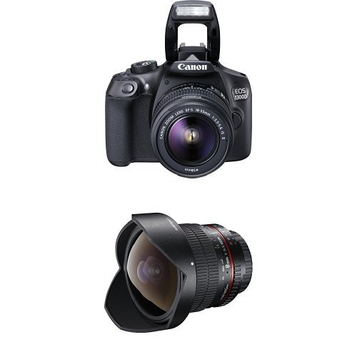 Canon EOS 1300D Digitale Spiegelreflexkamera (18 Megapixel, APS-C CMOS-Sensor, WLAN mit NFC, Full-HD) Kit inkl. EF-S 18-55mm IS Objektiv + Walimex Pro 8 mm 1:3,5 DSLR Fish-Eye II Objektiv für Canon EF-S Objektivbajonett schwarz (mit abnehmbarer Gegenlichtblende)