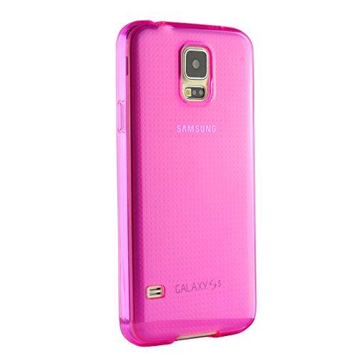 Urcover® Galaxy S5 Hülle, TPU / Silikon Schutzhülle Ultra Slim Transparent Crystal Clear durchsichtig Klar Case Cover Smartphone Zubehör Schale Handyhülle für Samsung Galaxy S5 Farbe: Grau Pink