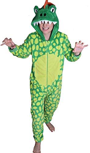 Kinder Jungen Mädchen Strampelanzug Schlafoveralls Tier Overall flauschig Fleece Jumpsuits Mops Teddybär Affe Dalmatiner Schaf Gorilla - Alter 2-13 Jahre, 10 - 11 Dinosaurier